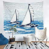Nautical Decor Wall Hanging Sailboat Printed Tapestry for Kids Boys Girls Teens Stripe Decor Wall...