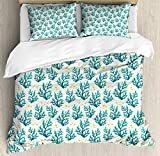 LnimioAOX Nautical Duvet Cover Set, Underwater Composition Corals and Fish Silhouettes, Decorative 3...