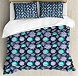 Nautical Queen Size Duvet Cover Set by Ambesonne, Ocean Theme Seashells Scallop Summer Marine...
