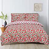 Todd Linens 2 Pcs Floral Poppy Reversible Duvet Cover Set with 1 Pillowcase - Bedroom Decor for...