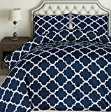 Utopia Bedding Printed Duvet Cover Set - Brushed Microfibre Duvet Cover with 2 Pillowcases (Navy...