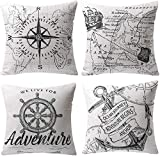 LAXEUYO Pack of 4 Cushion Covers, Compass Navigation Sailing Map Pattern Cotton Linen Decorative...