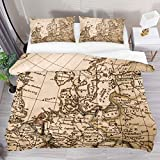 AJIKENEE Vintage Nautical Map 3 Piece Duvet Cover Set Super King Size 102'x87' Soft Quilt Cover...