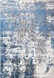 Distressed Blue and Grey Abstract Rug Soft Plush Textured Ombre Durable Affordable Living Room Area...