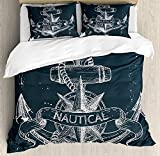 LnimioAOX Marine Duvet Cover Set, Nautical Knot Compass Anchor Pattern Sea World Ocean Life Grunge...