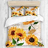 Aliciga bedding-Duvet Cover Set,Romantic sunflowers Flowers on Old Fashioned Letters Postcards...