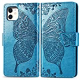 Compatible with iPhone 11 Pro Max flip Case,Butterfly Heavy Duty Flip Leather Cover Card Slot...