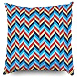 GIGIEU Cotton Linen Pillow 18x18,Nautical Herringbone Reversible Accent Blu Accent Decorative Throw...