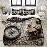 Yaoniii bedding - Duvet Cover Set, Exploration and Nautical Theme Grunge Old World Pirate Still Life...