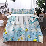 Yuxiang Bedding Sets Duvet Cover Set, Rustic Wood Background Nautical Anchor Lifebuoy Ocean Theme...