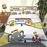BEYHK Duvet Cover Set King Size 230X220Cm 3D Nautical Themed Cartoon Animals Bedding Set Bedroom...