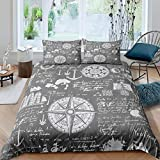 Zooseso® Bedding Set Single size Vintage marine nautical compass anchor 3D Pink Duvet Cover Set for...