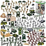300-Piece Army Soldier Toy Figures Set with Tanks, Planes, Flags, Battlefield Accessories, 4...