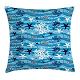 ABAKUHAUS Seashells Throw Pillow Cushion Cover, Nautical Underwater Universe Design of All Creatures...