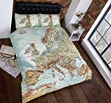 Rapport Vintage World Map Bedding Set - Brown Green Blue White - King Size