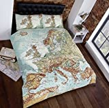 Urban Unique European Map Photographic Print Duvet Cover Bed and Pillowcase Set, Muti, Single