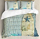 LnimioAOX Nautical Duvet Cover Set, Nautical Boat Standing Against The Wall Other Aquatic Objects...