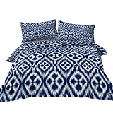 BlessLiving Classic Bedding Set Nautical Navy Blue and White Ogee Patterned Single Duvet Cover for...