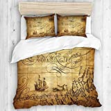 ALLMILL Map Nautical Chart Ship Whale Yellow,College Dorm Room Decorative 3-Piece Bedding Set,(1...