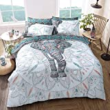 Sleepdown Elephant Mandala Teal Bed Reversable Quilt Duvet Cover Set Easy Care Anti-Allergic Soft &...