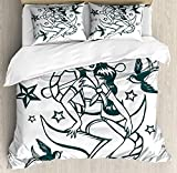 Kinhevao Anchor Duvet Cover Set Queen Size, Pin-up Girl Nautical Sailor Suit Surrounded by Swallow...