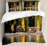 667 SA&NOELY Soft Microfiber Lake Tahoe Duvet Cover Set, Carnelian Bay Photography Log Cabin in The...