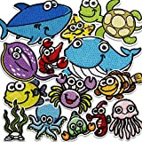 MUSCCCM Iron On Patches,14 Pcs Embroidered Marine Life Applique Patches Kit Assorted Size Decoration...