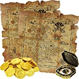 Sumind 64 Pieces Pirate Theme Toys, Includes 60 Pieces Pirate Gold Coins Fake Coins, 2 Pieces...