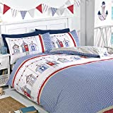 Just Contempo Seaside Beach Hut Duvet Cover Set - Double, Blue