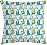 Nautical Throw Pillow Cushion Cover, Sailing Boats on The Ocean Surfing Coastal Theme Marine Life...