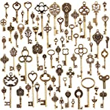 JuanYa Wholesale 70 Pieces Antique Bronze Vintage Skeleton Mixed Key Charms DIY Necklace Pendant for...