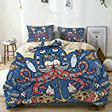 Duvet Cover Set Beige,Colored Old Octopuses Fishes Boats and Other Nautical Elements, Decorative 3...
