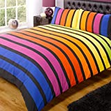 Rapport SoHo Multi Stripe Duvet Cover Quilt Bedding Set, Blue Purple Orange Yellow Green, Double...