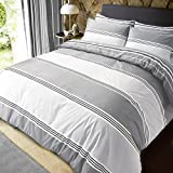 Sleepdown Grey Banded Stripe King Size Duvet Cover Set. Easy Care And Super Soft Cotton Reversible...