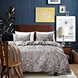 Modern Leaf Floral Pattern Bedding Set Girls Botanical Duvet Cover Set Women Gray Leaves Branch...