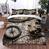 Mingdao bedding - Duvet Cover Set, Exploration and Nautical Theme Grunge Old World Pirate Still Life...