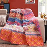 Exclusivo Mezcla Reversible 125 x 150cm Cotton Multicolored Boho Quilted Throw Blankets