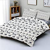 Duvet Cover Set,Navy Yatch Themed Design with Fish Starfish and Anchor Nautical PrintDecorative 3...