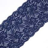 5 Yards Floral Lace Ribbon Stretch Tulle Lace Trim Elastic Webbing Fabric Width 15cm for DIY Jewelry...