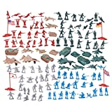 Juvale 124 Military Figures And Accessories - Toy Army Soldiers In 4 Colors, World War II Playset...