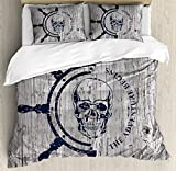 Nautical Queen Size Duvet Cover Set by Lunarable, Marine Theme Digital Image Skull Helm Ocean...