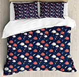 ABAKUHAUS Marine Duvet Cover Set Twin Size, Nautical Pattern with Grunge Sailboats Flying Birds and...