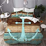 916 FUPAI SI Duvet cover with Pillowcase Quilt Bedding set,Timeworn Marine Symbol on Weathered...