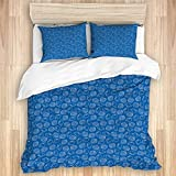 Yhouqukhdeueh Duvet Cover Sets Bed Sheets,Aquatic Summer Nautical Theme Outline Si,3 Piece Bedding...