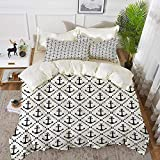 bedding - Duvet Cover Set ,Geometric,Dotted Frames Anchors Pattern Chevron Style Zigzags Nautical...