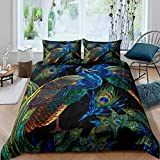 Peacock Duvet Cover Animal Theme Bedding Set for Kids Boys Girls Teens Ultra Soft Peacock Feathers...