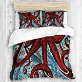 ALLMILL Nautical Abstract Red Octopus,College Dorm Room Decorative 3-Piece Bedding Set,(1 Duvet...