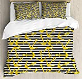 ABAKUHAUS Nautical Party Duvet Cover Set, Underwater Item on a Background of Horizontal Stripes,...
