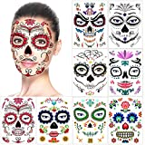 Halloween Face Temporary Tattoos (8Pack), Howaf Day of the Dead Sugar Skull Floral Black Skeleton...