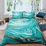 Marble Printed Duvet Cover Women Teal Marble Pattern Bedding Set Abstract Art Comforter Cover for...